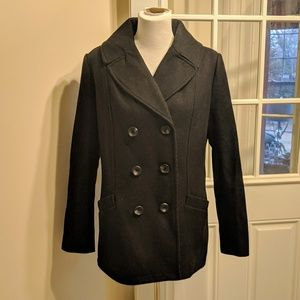 Merona Black Wool Peacoat Sz L